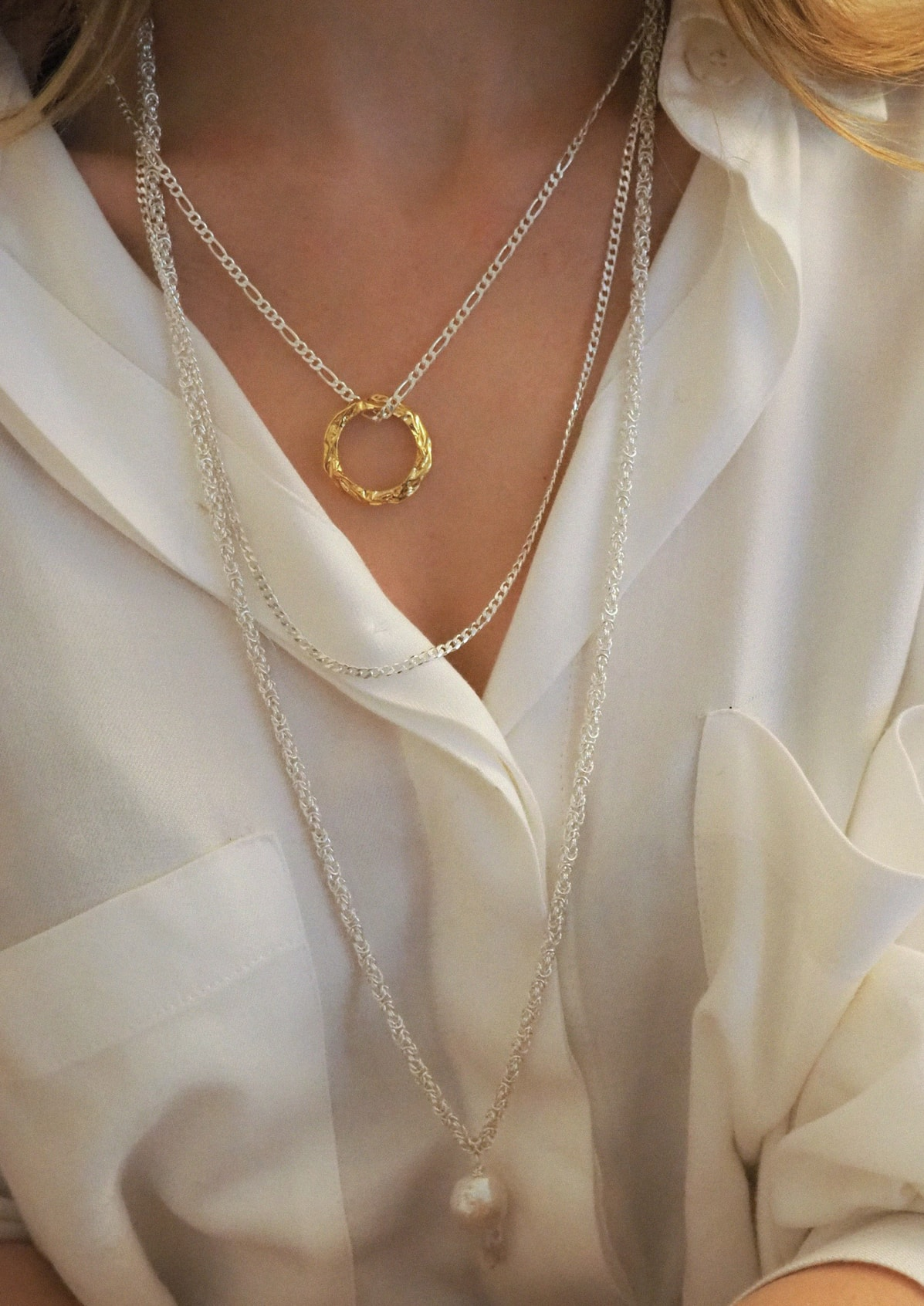 FULL MOON GRECIAN CHAIN NECKLACE