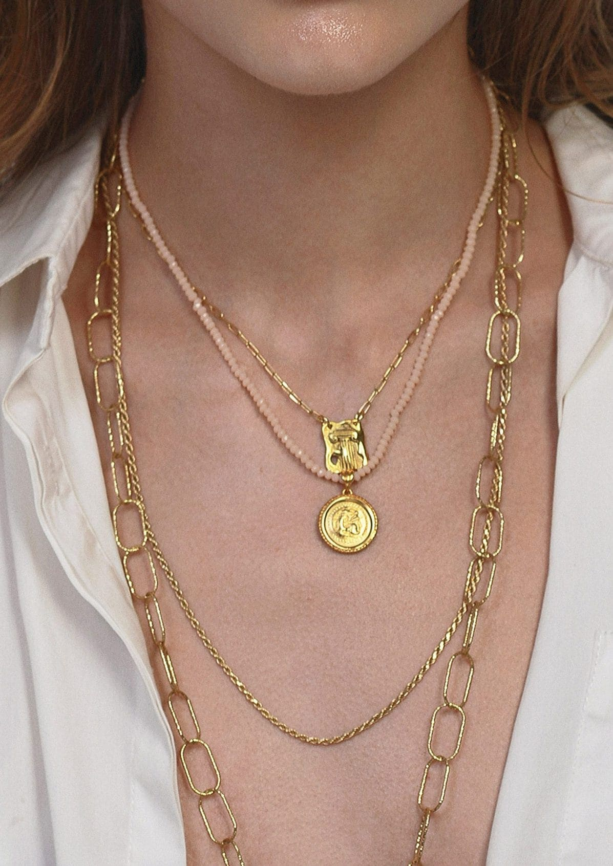 HERCULES CHAMPAGNE CRYSTAL NECKLACE
